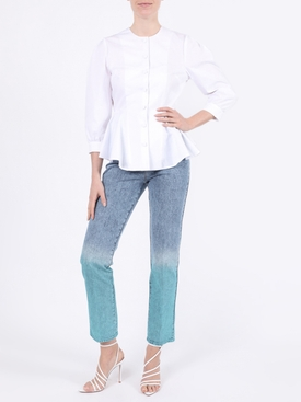 High-waisted ombre acid wash jeans