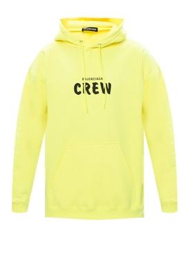 Crew logo drawstring hoodie LIME