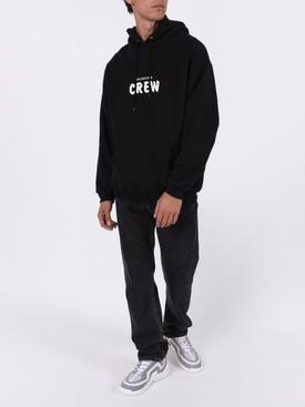 Crew logo drawstring hoodie BLACK