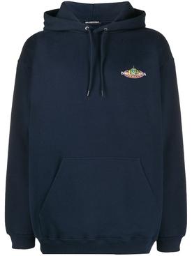 Bonjour logo patch hoodie BLUE