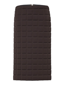 Brown quilted midi skirt