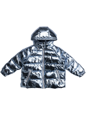 Kid's oversize blue foiled metallic puffer jacket