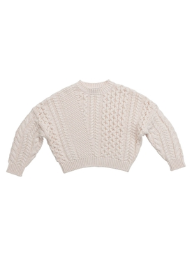 Kid's Ivory cable knit jumper