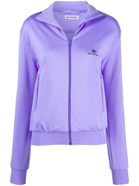 Purple side stripe logo track jacket