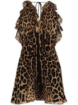 Saint Laurent - Silk Leopard Print Mini Dress - Women