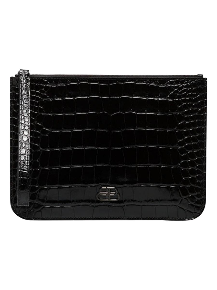 Balenciaga Bb Croc-Embossed Clutch In Black
