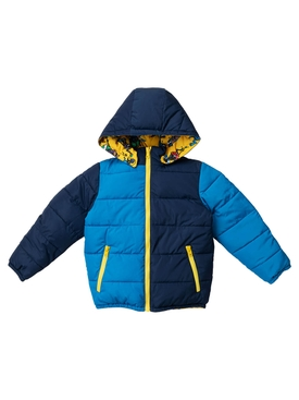 Kid's yellow multicolored music monster reversible puffer jacket