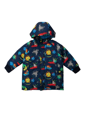 Kid's blue multicolored weather puffer jacket