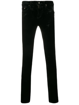 Slim-fit velvet pants