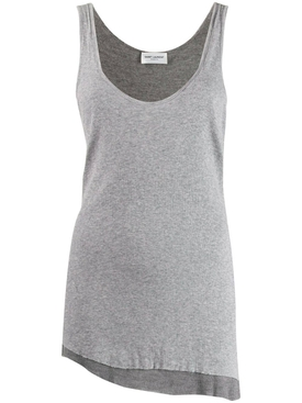Grey asymmetric tank top