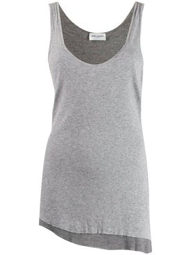 Saint Laurent - Grey Asymmetric Tank Top - Women