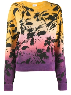 Multicolored Palm Print Tie-Dye sweater