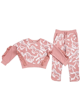 Pink horse print tracksuit set