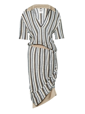 Striped polo knit dress