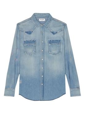 Classic Western Denim Shirt Blue