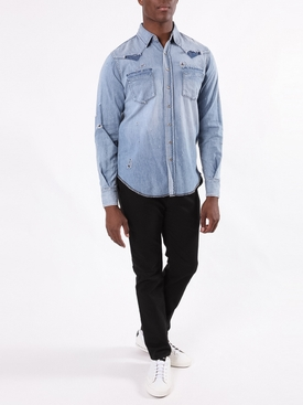 Classic Western Denim Shirt Blue