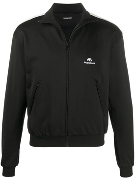 Zip-Up Logo Track Jacket BLACK WHITE