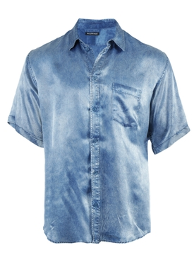 Blue Acid Wash Bowling Shirt