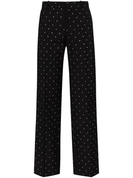 Black embellished wool pants