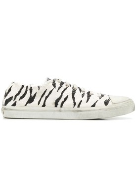Saint Laurent - Black And White Zebra Print Bedford Sneakers - Men