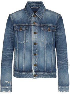 Saint Laurent - Blue Distressed Denim Jacket - Men