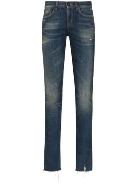Blue low-rise jeans