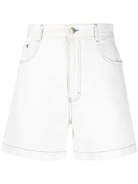 High-waisted denim shorts, white
