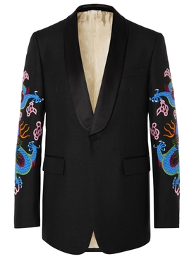 Dragon Embroidered Wool and Mohair Tuxedo Jacket