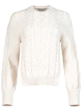 Aran Stitch Cropped Sweater Natural White