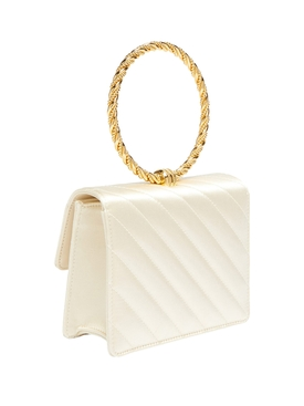 Circle handle quilted handbag WHITE