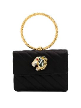 Circle handle quilted handbag BLACK