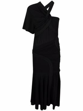 Emmeline Draped One-Shoulder Dress Black