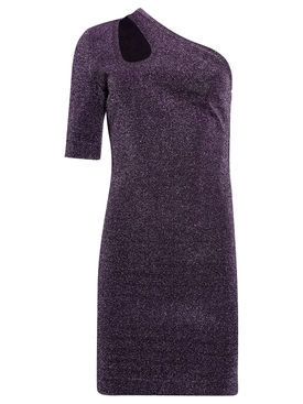 Darla Metallic Lurex Dress Grape