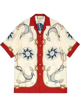 Silk anchor print bowling shirt
