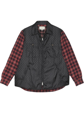 GG logo check print shirt jacket