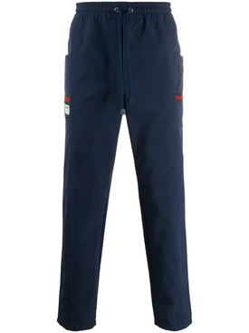 Blue logo patch track pants