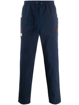 Gucci - Blue Logo Patch Track Pants - Men