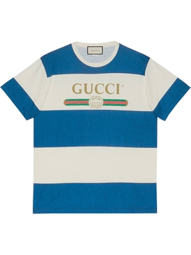 Gucci - Blue And Ivory Striped Gg Logo T-shirt - Men