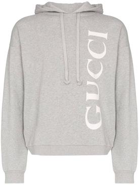 grey logo print hoodie