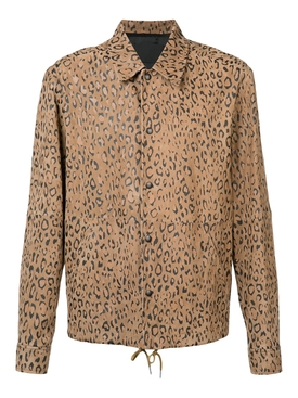 leopard print coach shirt jacket BROWN