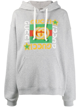Gucci - Grey Graphic Logo Over-sized Hoodie - Women