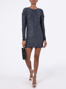 Blue shimmer long-sleeve dress