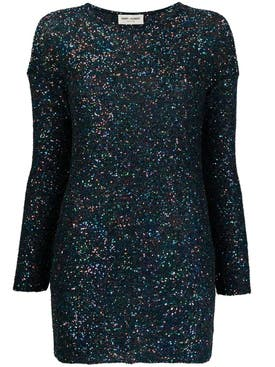 Saint Laurent - Blue Shimmer Long-sleeve Dress - Women