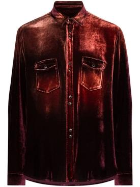 Distressed Button-Down Shirt BURGUNDY/BLEACH