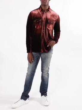 Distressed Button-Down Shirt BURGUNDY/BLEACH