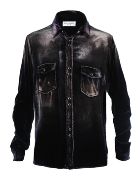 Distressed Button-Down Shirt NAVY/BLEACH