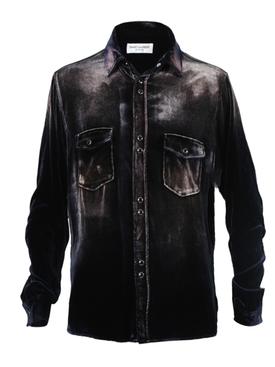 Distressed Button-Down Shirt NAVY/BLEACH