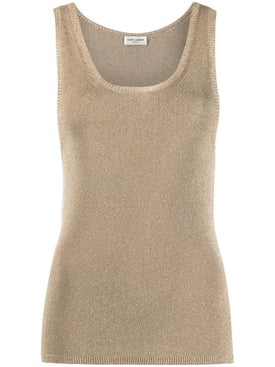 Saint Laurent - Metallic Gold Tone Tank Top - Women