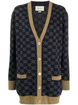 Gucci - Navy & Gold Lamé Cardigan - Women