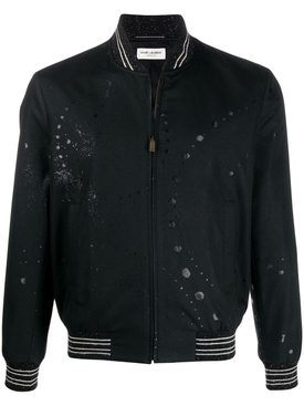 Galaxy Print Bomber Jacket Black